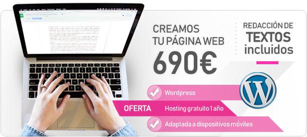 Oferta página web WordPress textos incluidos